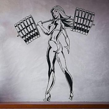 Wall Vinyl Sticker Sexy Girl Bikini Fitness Barbell Bench Slim Shape Unique Gift (n299)