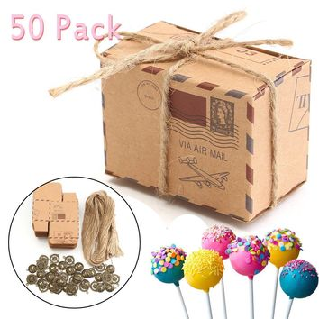 50Pcs Wedding Favour Sweet Cake Gift Candy Boxes Bags with Bronze Ornaments Paper Crafts Anniversary Party Home Decor Crafts