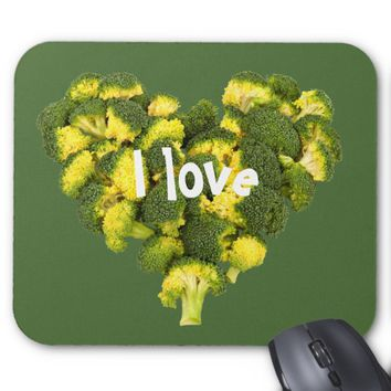 Heart shaped of broccoli mouse pad