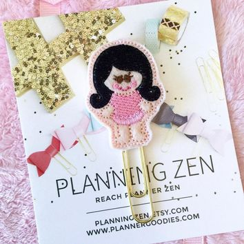 Ballerina Girl with Black Hair Felt Kawaii Planner Clip