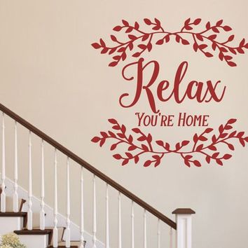Relax Your Home Primitive Wreath Farm Country Vinyl Wall decal