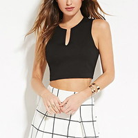 Paneled Split-Neck Crop Top