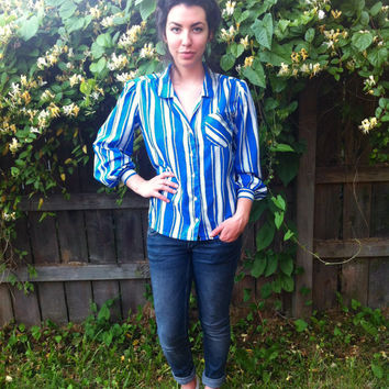 Blue & White Stripes Blouse // PolkaDots // by HawkShopVintage