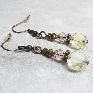 Light Yellow and Pink Peach Drop Earrings Beaded Dangle Antiqued Brass Womens Gift Made with Frosted Faceted Glass and Swarovski Crystals