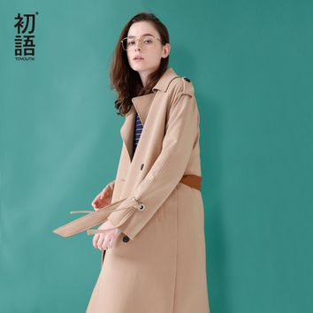 Toyouth 2018 Spring Women Long Trench Coat Loose Turn Down Collar Double Breasted Coat For Woman Khaki Waist Belts Trench Coat
