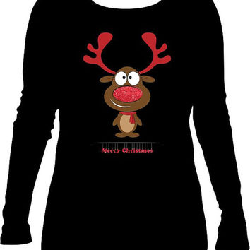 Christmas TShirt, Reindeer Long Sleeve, Holiday Apparel, Merry Christmas TShirt, Custom TShirt, Bling, Rudolph