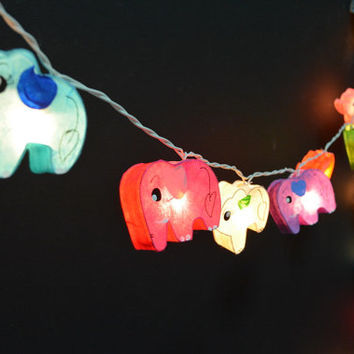 35 Lights  - Mixed Elephant Mulberry paper String Lights Fairy Lights Patio Lights Wedding Lights Decoration Lights