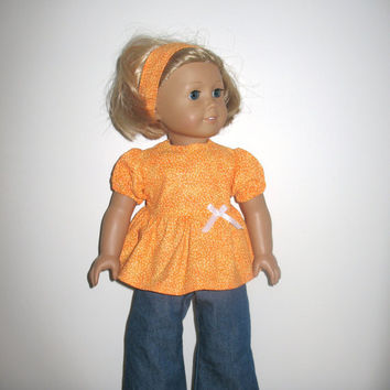 18 Inch Doll Clothes for American Girl Dolls, Orange Creamsicle Babydoll Shirt and Denim Jeans Outfit