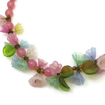 Glass Flower Necklace - Pastels, Spring, Pink, Green, Mint, Blue, Beaded Necklace, Costume Jewelry, Haskell Style