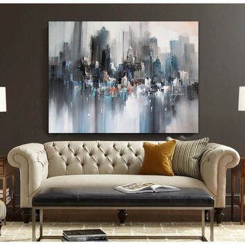 Modern landscape painting original canvas wall art painted gray city buildings abstract oil painting on canvas wall decor painti