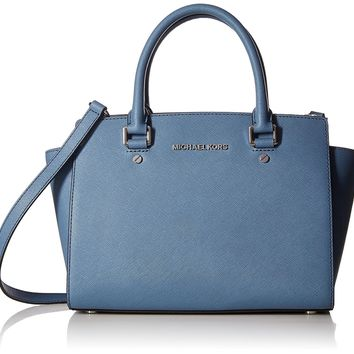 MICHAEL MICHAEL KORS Selma Medium Saffiano Leather Satchel, Denim