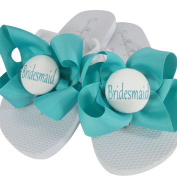 Turquoise Bridesmaid Bow Flip Flops