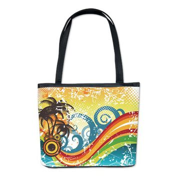 FUNKY ABSTRACT PALM WAVES BEACH GRUNGE BUCKET BAG