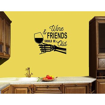 Wall Decal Wine Inscription Skeleton Hand Glass Vinyl Sticker (ed1300)