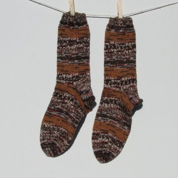 Hand-knit woman's washable wool socks, fall colors
