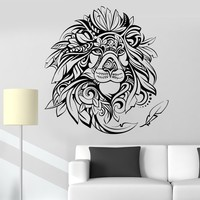 Vinyl Wall Decal King of Beasts Animal African Lion Feathers Head Stickers Unique Gift (735ig)