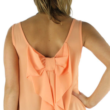 Sleeveless Bow Back Blouse - Peach