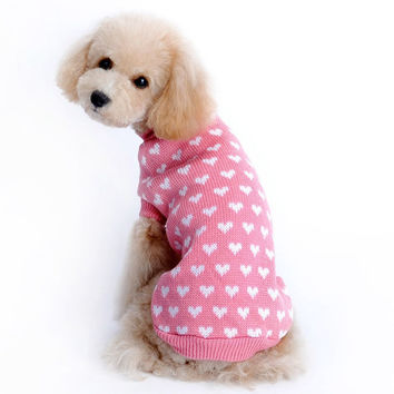 Winter Christmas Warm Heart Shape Pink Pet Sweater [8872714630]
