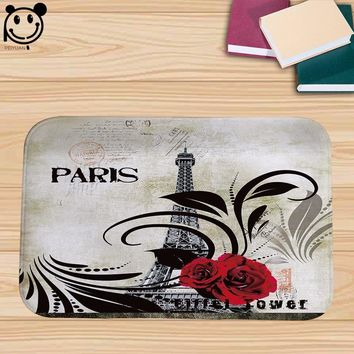 Autumn Fall welcome door mat doormat PEIYUAN  Rug Printed World Famous Building Paris Tower and Rose Flowers Floor Mat for Bedroom Living Room AT_76_7