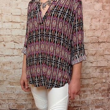 Black Aztec Print Blouse (Ladies)