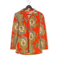 Orange Ornamental Shirt, Soft Long Sleeve Vintage Blouse