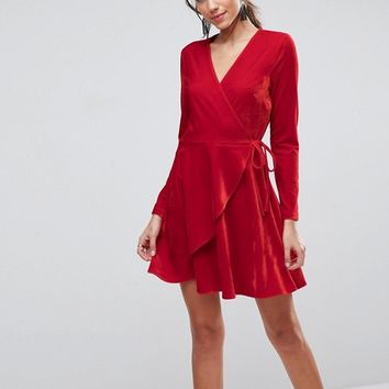 ASOS Velvet Wrap Mini Dress at asos.com