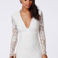 Missguided - Lace Long Sleeve Bodycon Dress White