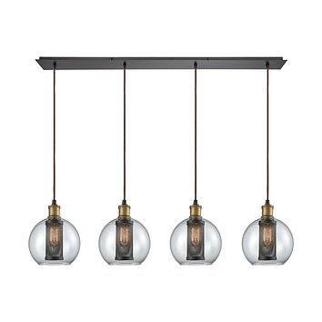 14530/4LP Bremington 4 Light Linear Pan Pendant In Tarnished Brass/Oil Rubbed Bronze With Clear Glass And Perforated Metal Cage