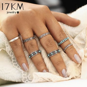17KM 7Pcs/Set Fashion Vintage Bohemian Turkish Beads Midi Ring Set Steampunk Ring for Women Gold Color Knuckle Rings Charm Anel