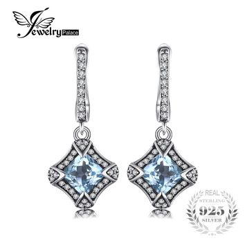 JewelryPalace Retro 1.8ct Cushion Genuine Sky Blue Topaz Clip Earrings Real 925 Sterling Silver Woman Fine Charm Jewelry