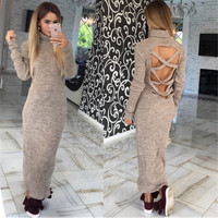 Cross Back Long Sleeve High Neck Maxi Dress