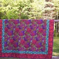 hand quilted floral lap quilt, Kaffe Fassett, Philip Jacobs fabrics