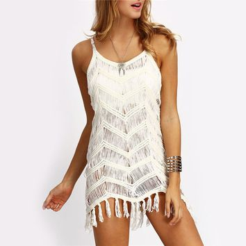 Summer Women Mini Dress Casual Sleeveless Party Beach Short Mini Dress Hollow Out Tassel Strap Boho Dresses White
