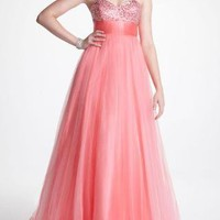 Empire Waisted Tulle Prom Gown with Beaded Bodice - David's Bridal- mobile