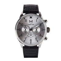 Meister Aviator AV110CB Silver and Black Croc Watch