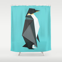 Fractal geometric emperor penguin Shower Curtain by Budi Satria Kwan