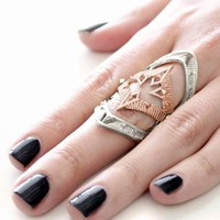 House of Harlow 1960 Moroccan Goum Armour Ring in Silver/Rose