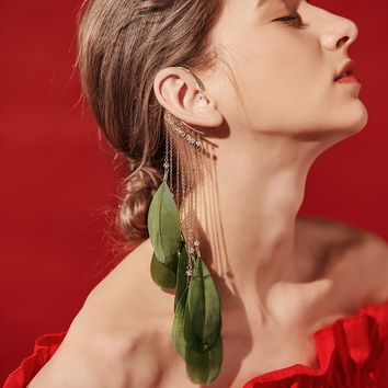 Bold fashion statement, cascading drop earrings w/real feathers