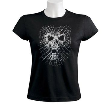 Short Sleeve Black Widow Spider Skull Web Dark Evil Gothic Casual Crew Neck Tee
