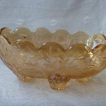 Jeannette Glass Louisa Candy Dish Bowl Four Toed Flora Gold Pattern
