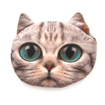 Grey Kitty Cat Face Shaped Soft Fabric Zipper Coin Purse Make Up Bag with Turquoise Blue Eyes