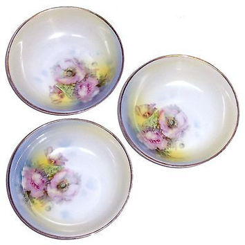 Antique Prussian Royal Rudolstadt Porcelain Bowls SET3 Blue Pink Signed F Hahn