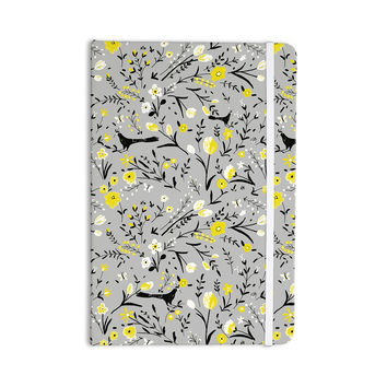 "Laura Nicholson ""Blackbirds On Gray"" Gray Yellow Everything Notebook"
