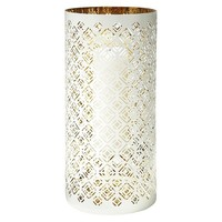 """Lilly Pulitzer for Target Bullseye Pierced Metal Candle Holder - White with Gold Interior (14.5)"""""""