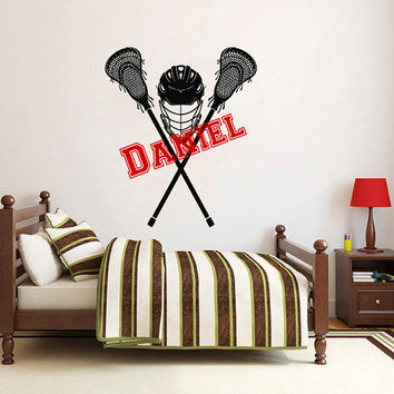 Wall Decal Name Vinyl Sticker Personalized Custom Name Decals Art Home Decor Mural  Lacrosse Player Kids Children Name Boys Girls AN598