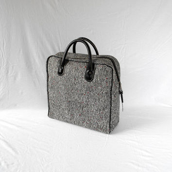 Vintage Aladdin Double Thermos Plaid Picnic Set, Black and Grey Tweed Style Tote Bag With Sandwich Box