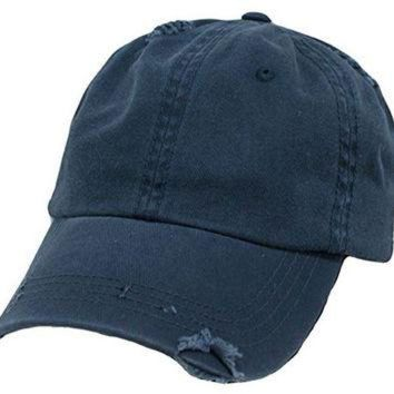 DCCKBWS Navy Blue Vintage Distressed Polo Style Low-Profile Baseball Cap Hat