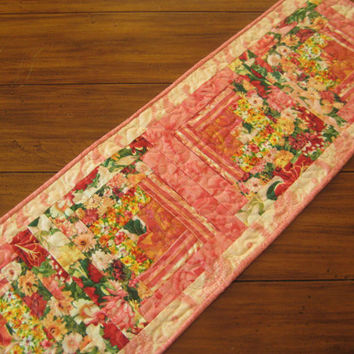 Floral Table Runner Quilted Coral Peach Yellow Pansies Daisies