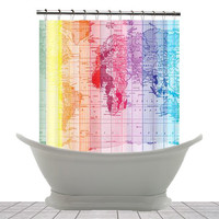 Shower Curtain -Rainbow World Map- Home Decor - Bathroom - maps, unique, red, purple, blue, yellow,
