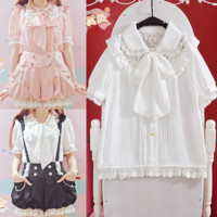 Short Sleeve Lace Bow Blouse from Pocket Tokyo